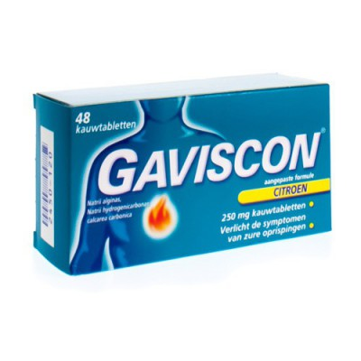 GAVISCON AANGEPASTE FORM.CITROEN 250MG KAUWTABL 48