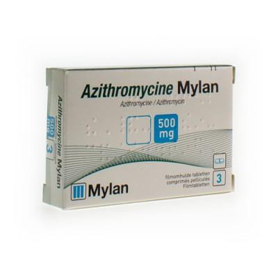 AZITHROMYCINE 500 MG MYLAN COMP PELL 3 X 500MG KDT